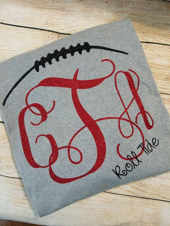 Football Stitches Alabama - Auburn - Team Spirit Glitter Vinyl Shirt Short or…
