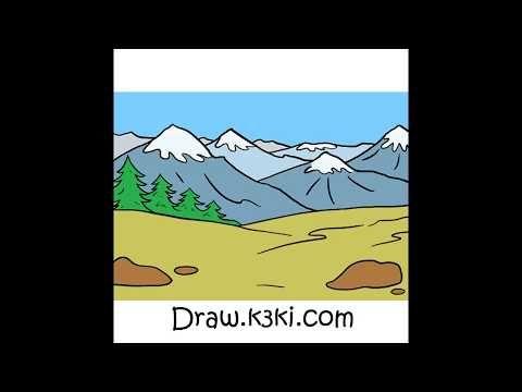 رسم غابة وجبال Youtube