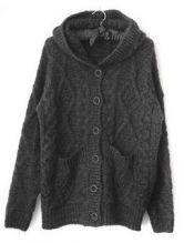 Dark Grey Hooded Long Sleeve Cardigan Sweater $59.20
