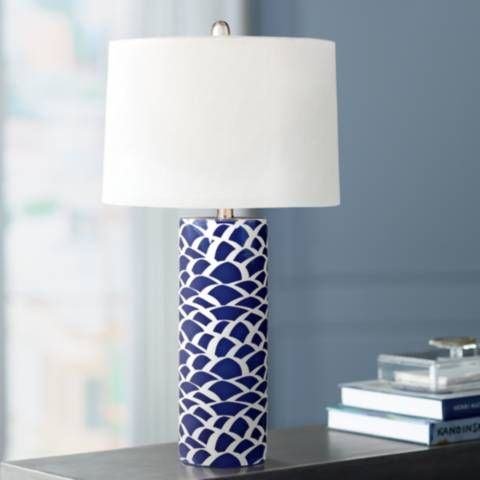 Scale Sketch Navy Blue And White Ceramic Table Lamp 9v596 Lamps Plus White Table Lamp Ceramic Table Lamps Table Lamp