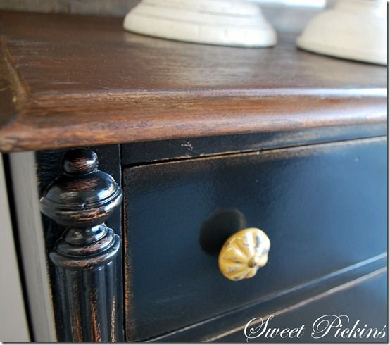 Distressing And Painting Furniture This Is Tricorn Black By Sherwin Williams Tutorial