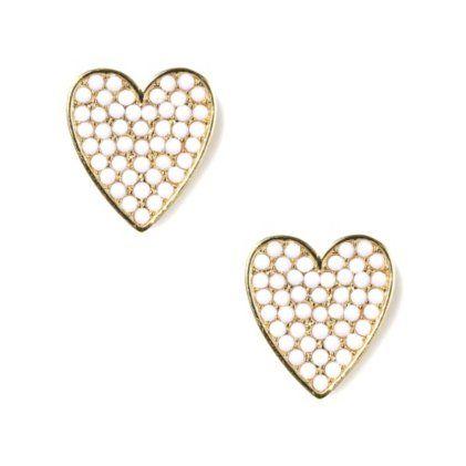 Pearl Accent Heart Stud Earrings