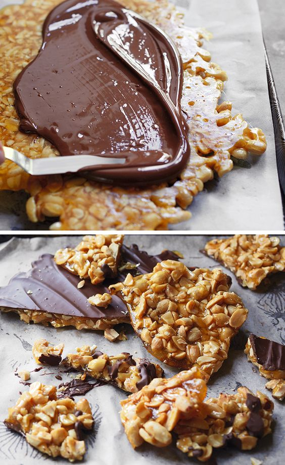 Indulgent peanut brittle smothered with sea salt chocolate – a simple but delicious recipe that uses just 4 ingredients.