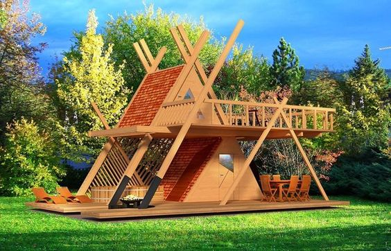 Glamping Tower With Hot Tube And Fire Pit 3d Model 3d Model A Frame House Architecture House Design