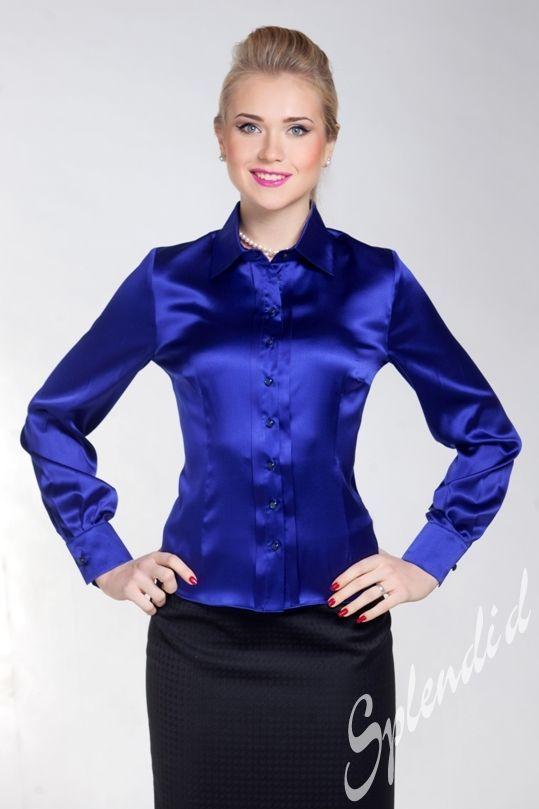 Navy Blue Silk Blouse
