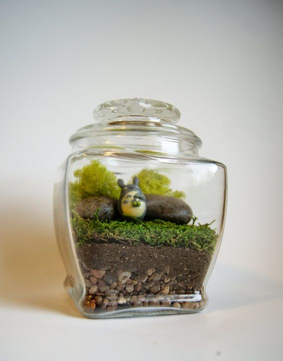 Large Totoro Studio Ghibli Terrarium My Neighbor Totoro Moss No Maintenance Gift Home Decor Christmas Free Figurine