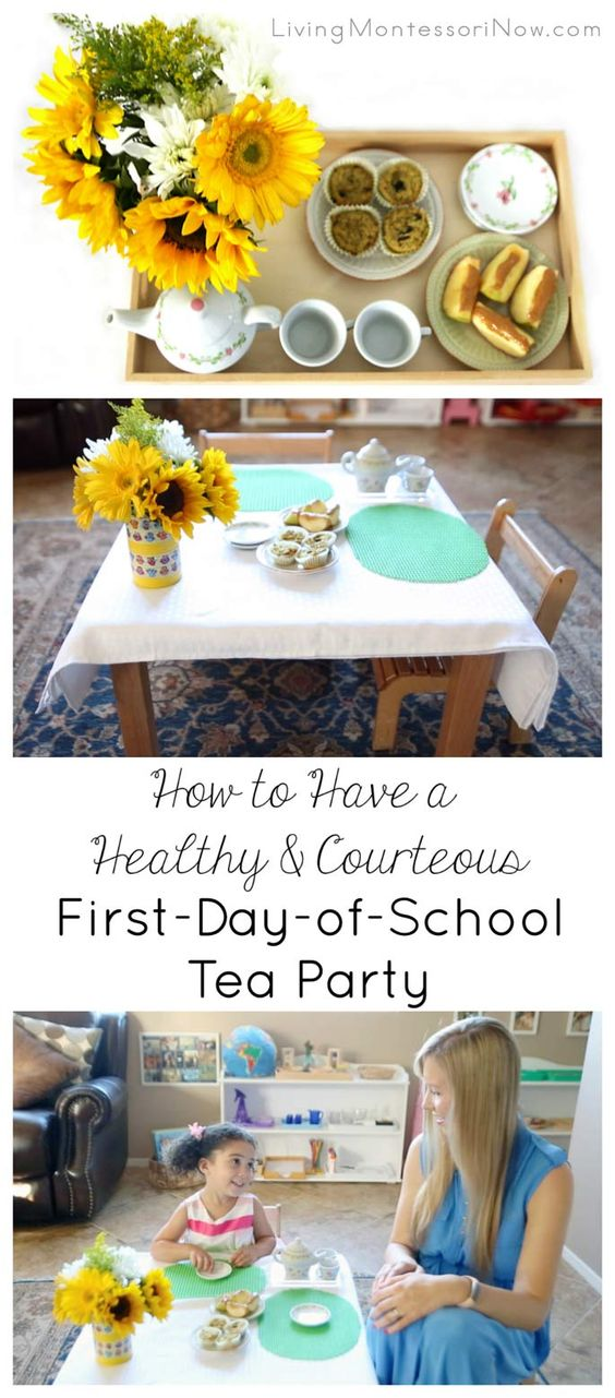 Tutorial with YouTube video for a healthy and courteous first-day-of-school tea party; great for practice with Montessori grace and courtesy lessons for preschoolers on up.
