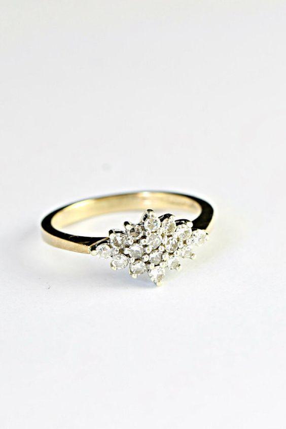Bague de fiançailles diamant en or 9 carats de diamants vintage de cluster mariage bague 80