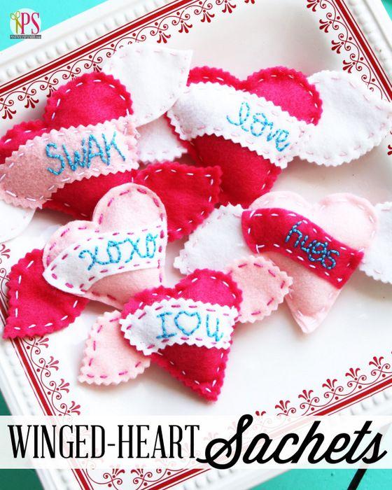 Hand-Embroidered Felt Heart Sachets