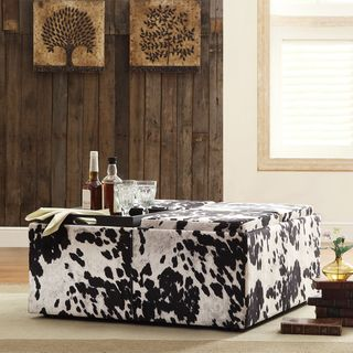 Decor Black White Cow Hide Modern Storage Ottoman: Creek Cowhide, Living Rooms, Coffee Table, Black White, Additional Tabletop, Tabletop Space, Cocktail Ottoman, Cowhide Print