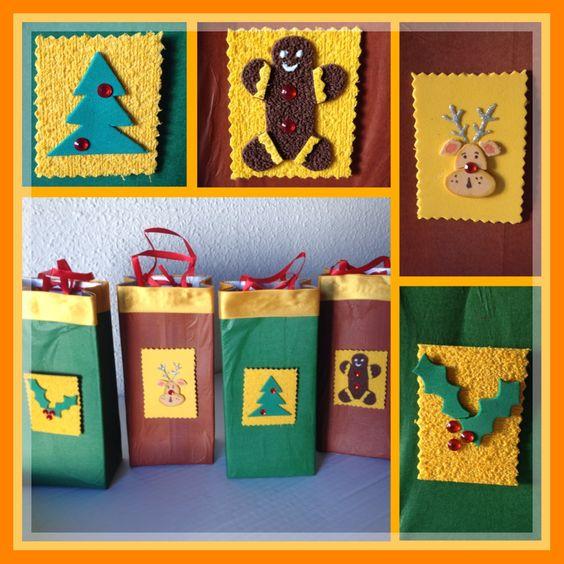 Bolsas de regalo con desiños navideños, en este caso Muerdago, Reno, y Muñeco gengibre, todas con cajas de leche, forrado con papel contac o el de tu preferencia, y goma eva para hacer las etiquetas... lindos y sencillos .../ DIY by Luz Arias.