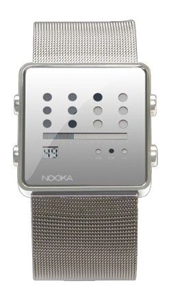 "SKU #24162364  Overview:  * Super modern watch from NY-based Nooka with a metal mesh band  * Features Nooka's unique time display - 12 dots represents the current hour  * Horizontal bar displays the minutes; seconds display underneath  * Alarm and chronograph mode  * Slide buckle closure; stainless steel back  * Band - 8.75""l, 1.125 ""w  * Case - 1.375""w    Content & Care:  * Stainless steel, glass  * Spot clean  * Imported"
