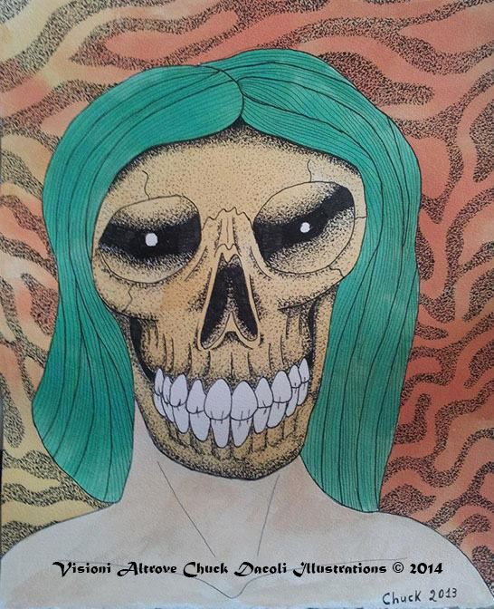 psychedelic skull Visioni Altrove Chuck Dacoli Illustrations http://www.visionialtrove.com http://www.facebook.com/visionialtrove