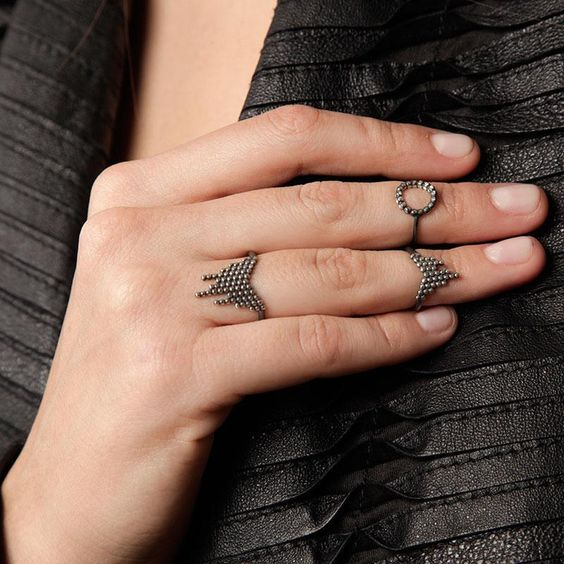 We are in the midst of a mid-finger ringer frenzy: OXIDIZED CASCADE PINKY/MID-FINGER RING