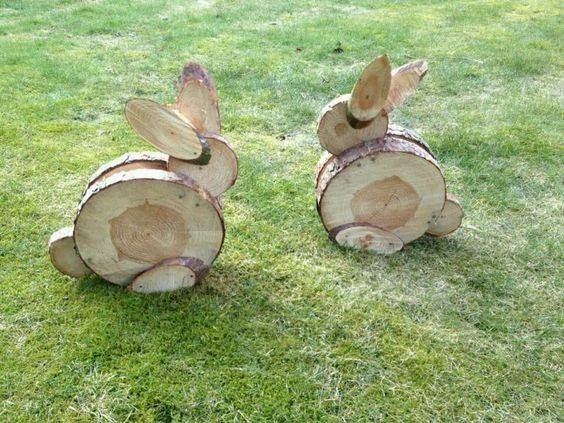 Wood Slice Bunniesthese Are The BEST Yard Art Ideas