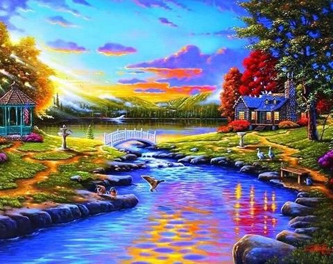 Beautiful Sunset Landscape Paint By Numbers In 2020 Beautiful