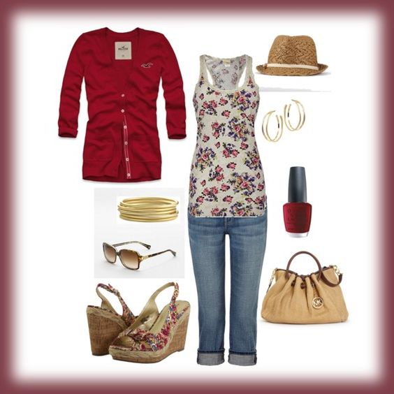 A casual burgundy and floral outfit via Polyvore. Yes! #fashion