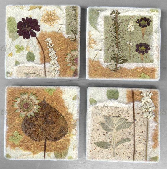 Pressed Flower Art Stone Coasters | dried flower ideas