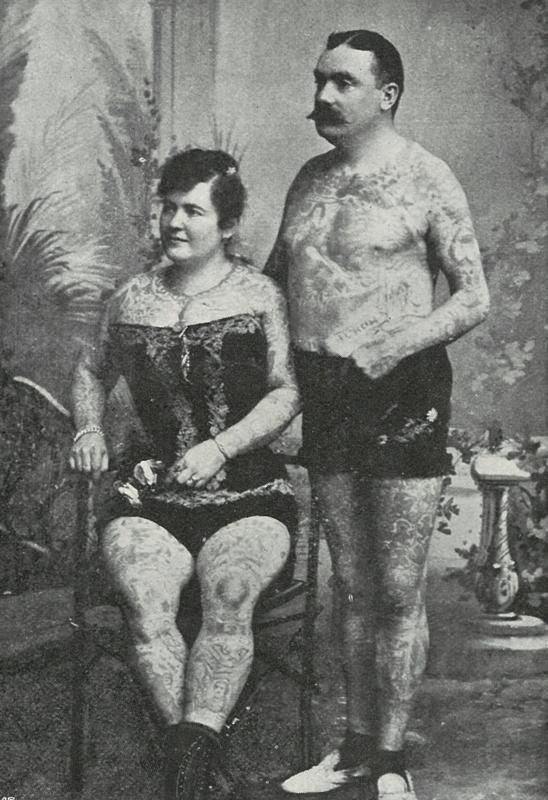 Frank and Emma DeBurgh were one of the most famous turn of the century husband and wife attractions. Tattooed by Samuel OReilly during the late 1800s in New York City, the de Burghs were two of the many American attractions to work with great success in Europe - cutting from cartoonist Linley Sambourne's image library: