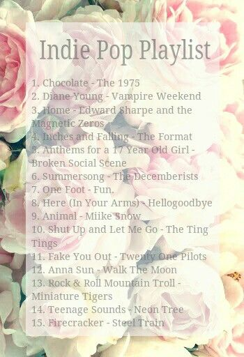 Indie Pop Playlist  Twenty One Pilots and Fun. are my favorite bands on here