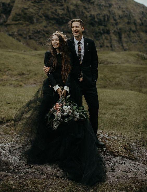 Faroe Islands Elopement. Mango Street Lab. Black Tulle Wedding Dress. Denmark Elopement. Places to Elope.