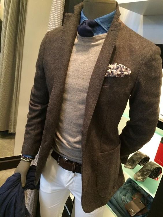 tweed jackets and pocket square