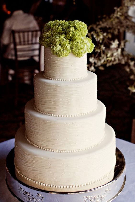 beautiful texture on this cake...and I love the green hydrangeas on top.  simple but elegant.