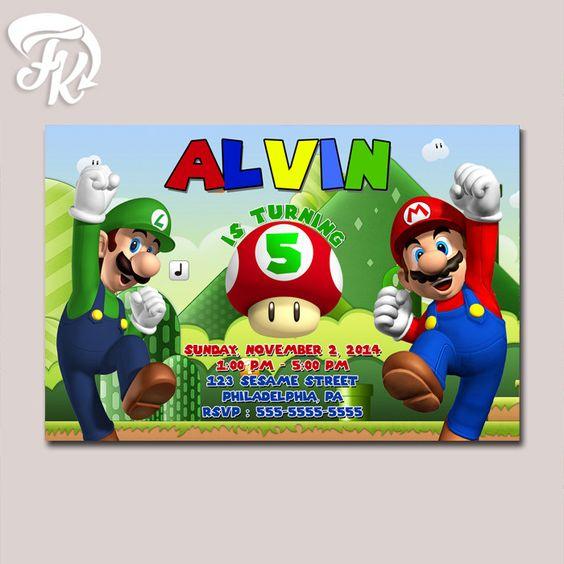 Super Mario And Luigi Old Game Birthday Party Card Digital Invitation
