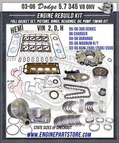 03-06 Dodge truck 5.7 345 V8 HEMI engine rebuild kit, VIN  2, D, H.  300 series, Charger, Durango, Magnum R/T, Ram trucks.  Do it yourself rebuild kit, contains Full gasket set, pistons, rings, bearings, oil pump, thrust washers, and timing set.  #dodge345enginekit  #vapengines