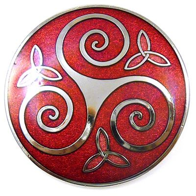 Round Celtic Triskele Trinity Brooch  Red Enamel   and   Silver