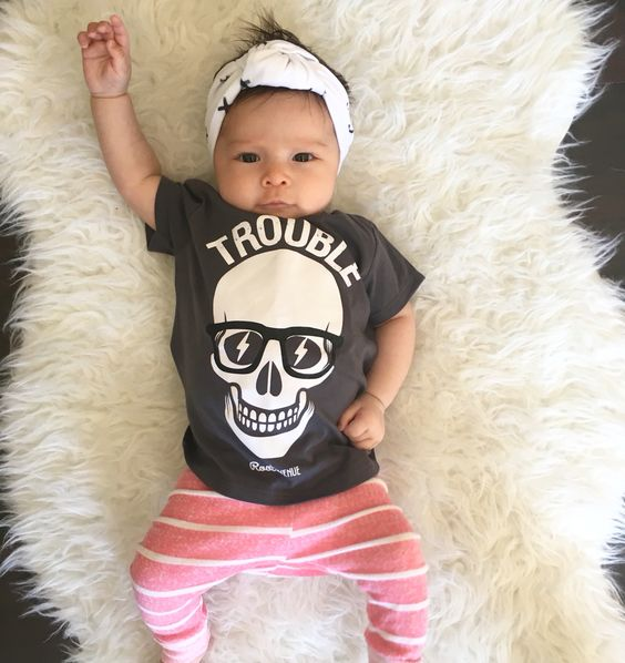 Trouble! Cute baby girl outfit : hipster kid fashion: