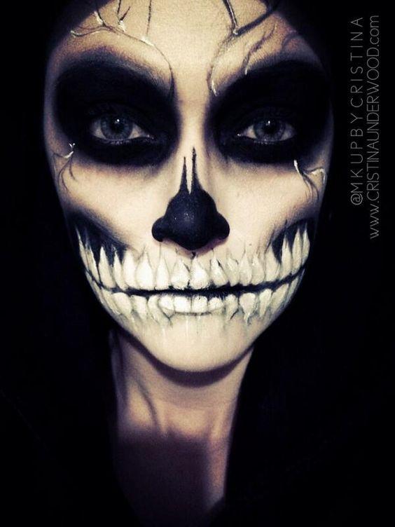 skelett make up halloween make up and kost me on pinterest. Black Bedroom Furniture Sets. Home Design Ideas