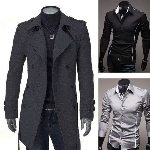 MENS DOUBLE BREASTED TRENCH COAT MEN'S WINTER LONG COATS JACKET OR