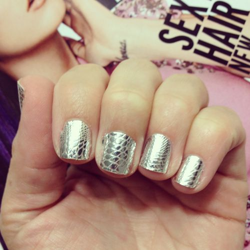 some would say a metallic snakeskin mani is too wild for a monday. haaa