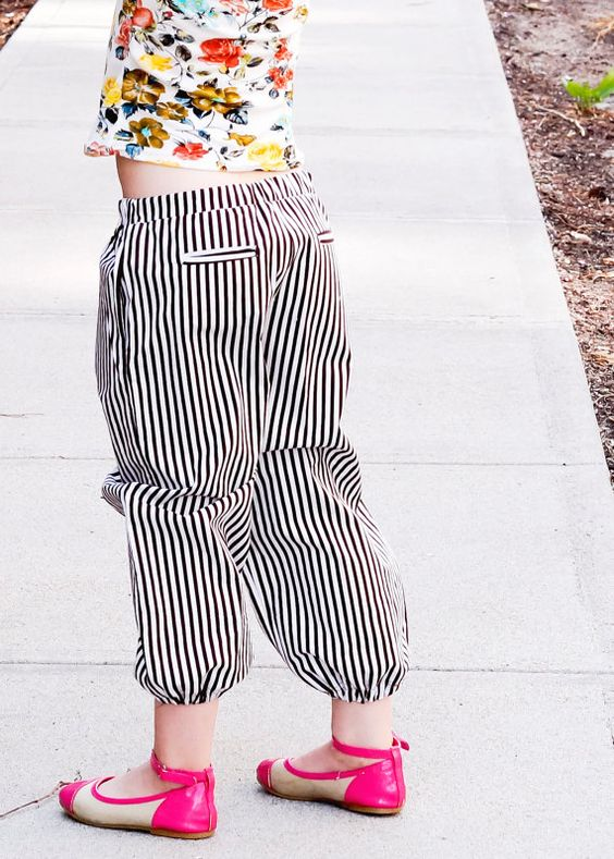 Striped Harem Cuffed Pants with Pockets by ThePetitArtiste on Etsy, $30.00