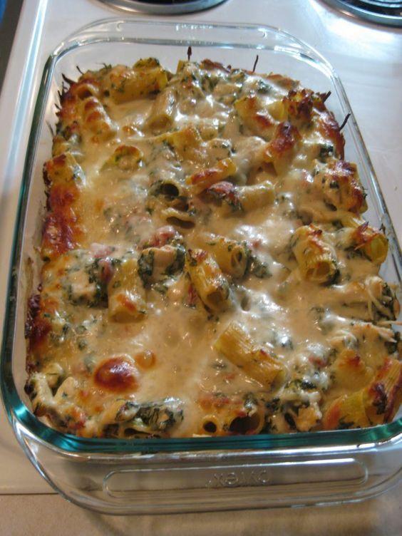 Chicken Spinach Casserole. Rigatoni, spinach, chicken, and even some cream cheese. DELICIOUS!