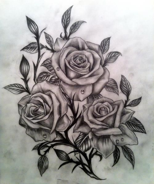 realistic black and grey roses would make a great tattoo minus those gross water drops...