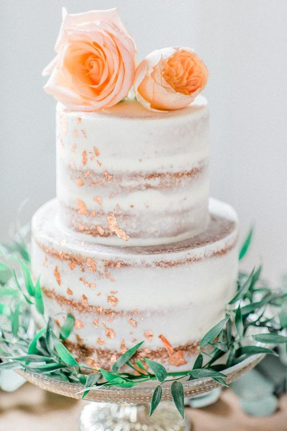 wedding cake ideas - photo by Mikaela Marie Photography http://ruffledblog.com/peach-and-copper-wedding-inspiration: