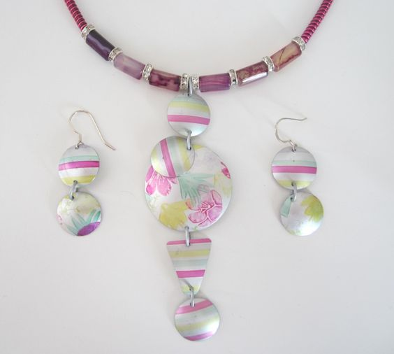 Anodised aluminium necklaces & earring sets by Cherry Green  This one is in a gorgeous fuchia pink with purple agate. Clasp is silver