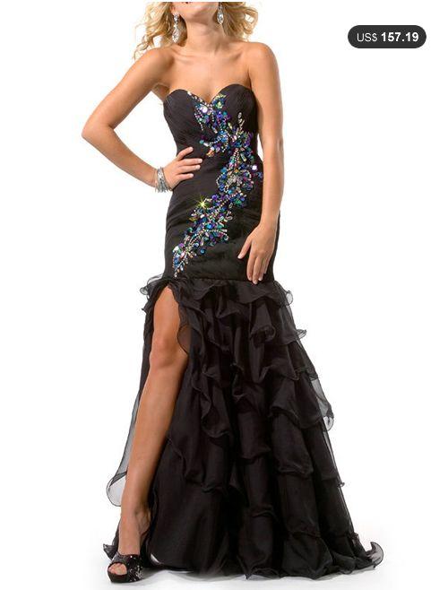 Revealing A-line Chiffon Sweetheart Asymmetrical Cascading Ruffle Beading Prom Dress Loveseason.com