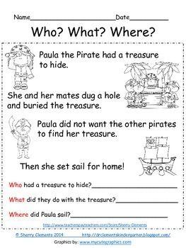 math worksheet : freebie! reading comprehension who what where  close reading  : Reading Comprehension Worksheets For Kindergarten And First Grade