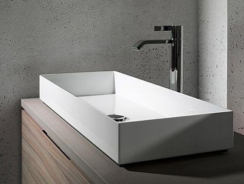 Grande Vasque Poser 100 Cm Avec 2 Trous De Robinets Brillant 6 Salle De Bain Idees Baignoire Vasque Rectangulaire