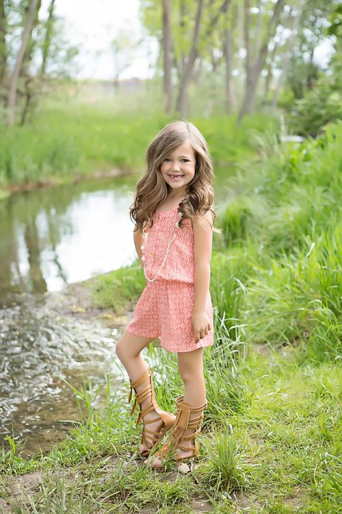 Girls Button Front Crochet Back Romper With Necklace Coral White Print