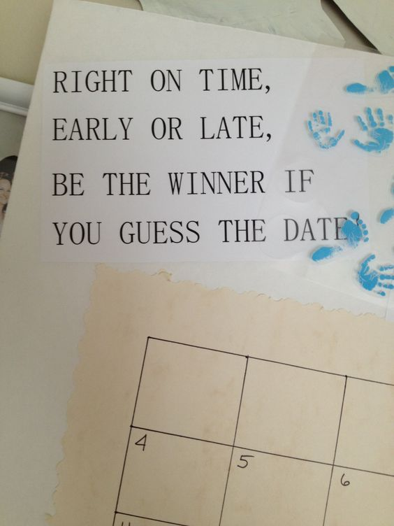 Due Date Calendar // Baby Shower Game // Guess the Date // Baby