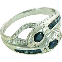 Art Deco 18K Sapphire Diamonds Double Snake Ring