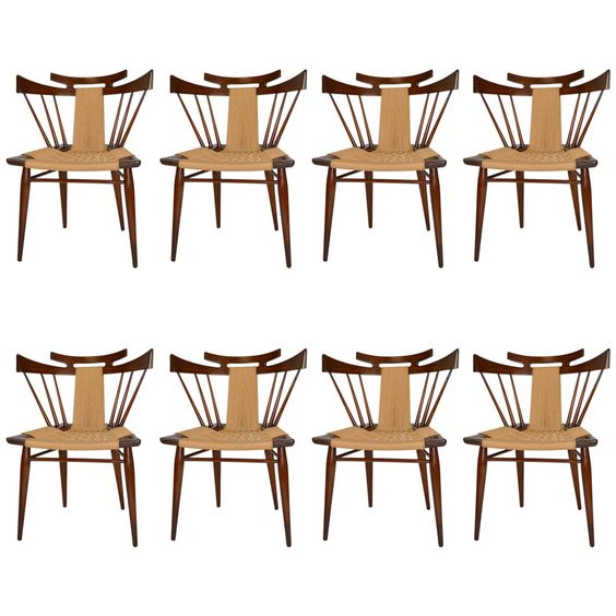 Set of Eight Edmund J. Spence Dining Chairs | From a unique collection of antique and modern chairs at https://www.1stdibs.com/furniture/seating/chairs/