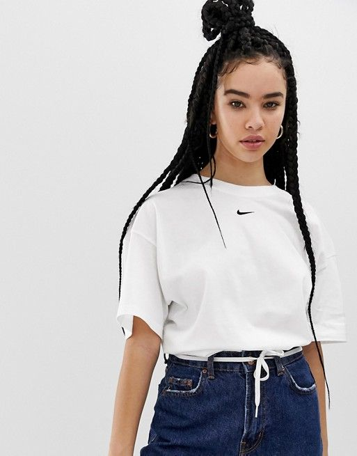 Nike White Mini Swoosh Boyfriend T-Shirt | ASOS | White ...