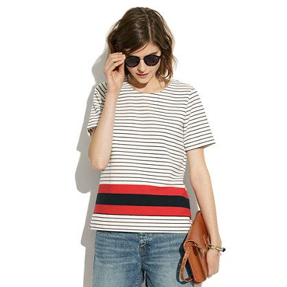 Mainsail Tee in Stripe - short sleeve - Women's TEES & MORE - Madewell:  Tee Shirt, Stripe Madewell, Madewell Stripes, Madewell Mainsail, Mainsail Tee, Clothes Tops, Knit Tops, Mainsail Stripe