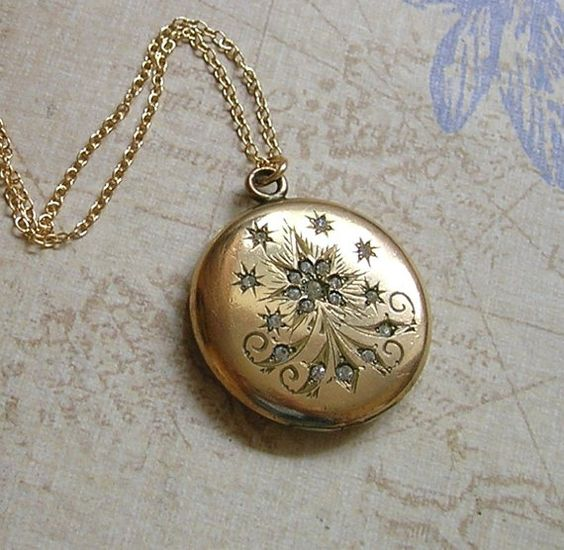 RESERVE for SERINE - Antique Edwardian Gold Filled Locket Necklace, Antique Locket Necklace, Gold Filled Locket, Gift For Her (L163)