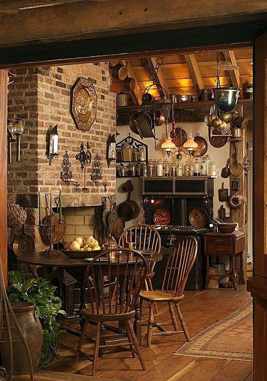 Country Kitchen with One-wall, Hardwood floors, Pendant Light, Petit Athena Hanging Glass Dome 3 Light Lantern Pendant